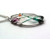 Flower pendant, purple tulip oval pendant, spring necklace, stained glass jewelry - ThePurpleBalloon