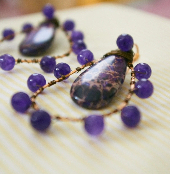 Purple Sea Sediment and Amethyst Wire Wrapped Earrings - Atlantis' Treasure