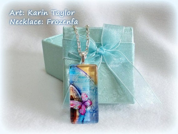 "Extract from ""Coffee Break"" v.2 - Slim Rectangle Glass Tile Necklace"