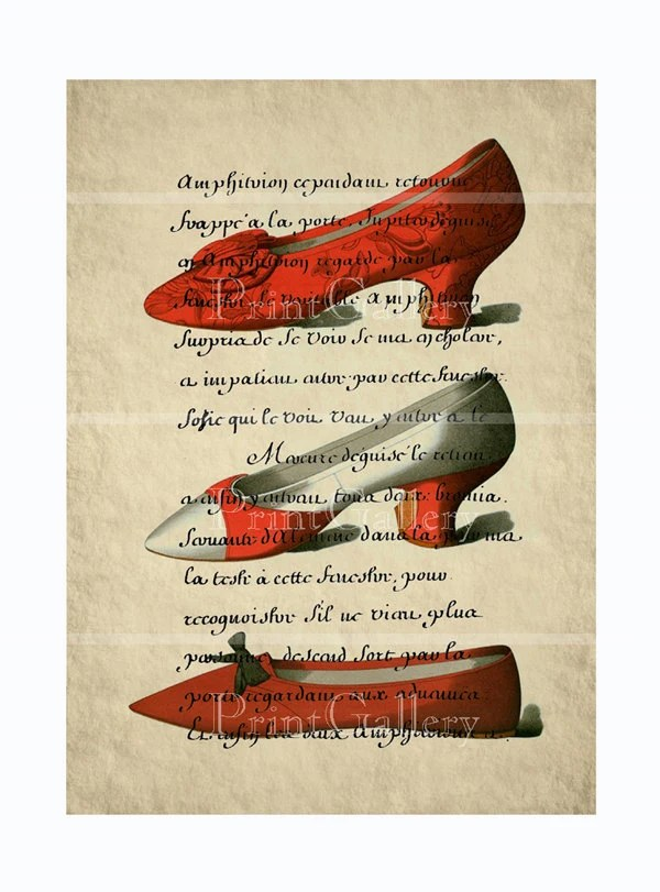Engravings Shoes Page Altered Art Book Old Shabby Chic Womens Vintage Red and White High Heels Deco Print French Fashion Picture 093