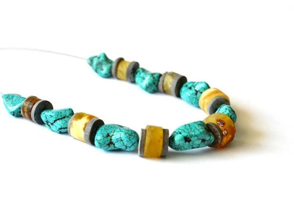 Amber Turquoise Necklace Natural Raw Stone Yellow Teal Blue Honey Gray, Earthy, Elegant Jewelry - KARUBA