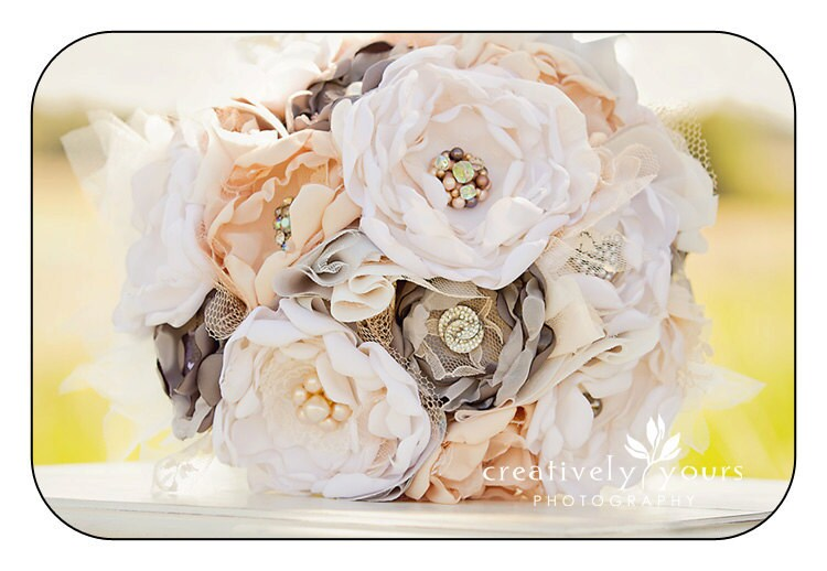 handmade fabric brooch wedding alternative bouquet with lace and pearls