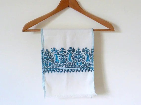 Ladies Scarf Cream Blue Embroidered Vintage Headscarf