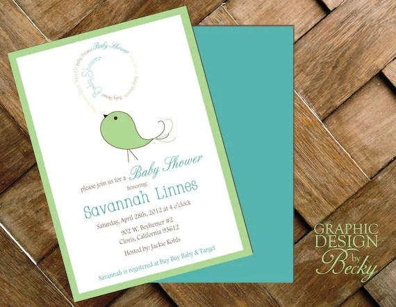Bird Baby - Printable Baby Shower Invitations - GraphicDesignbyBecky