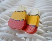 Halloween Candy Corn wood post handmade earrings - ThimbleManiac