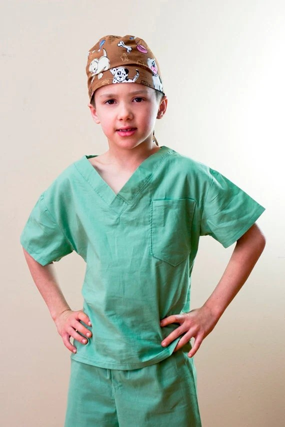 Children's Scrubs and Hat  Size 5 6 7 or 8 custom made Costume - OriginalsbyLaurenToo