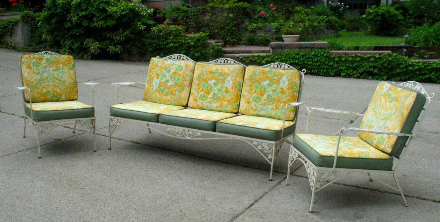 Items similar to Vintage Woodard Iron Patio Set Sofa Pair