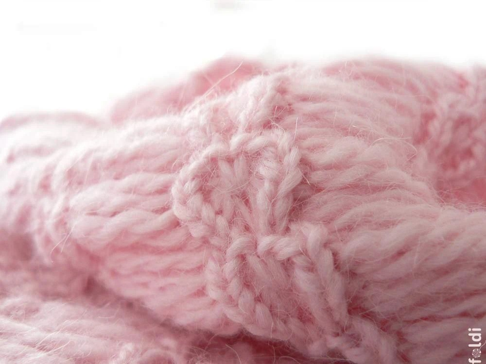 Knitted angora blend cowl in light pink colour 'Hearts' - foldi