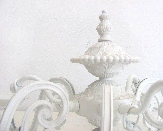 Antique Chandelier White Shabby Chic Cottage Chic Lighting Ornate French Country Lighting - NifticVintage