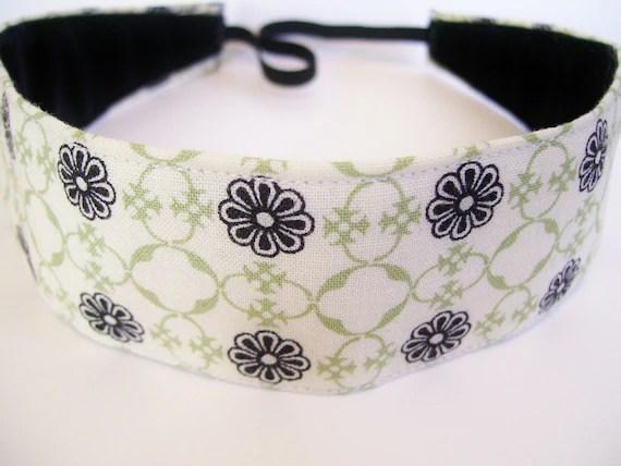 Black Flower Motif Fabric No Slip Headband - SlipNotHeadware