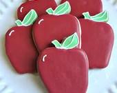 Apple Cookies Back To School Cookies Decorated Cookies Teacher Appreciation Cookies - CookieCoterie