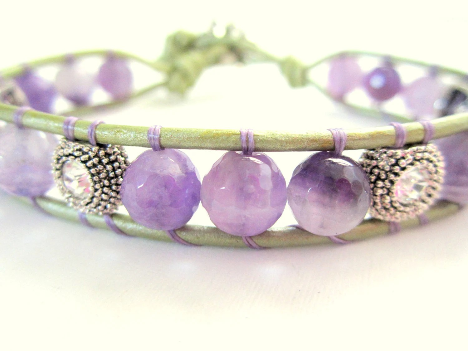 Amethyst Bracelet, Leather Bracelet, Gemstone Bracelet, Swarovski Crystal Bracelet, Womens Leather Wrap, Rhinestone Button, Purple and Green - diamondggems