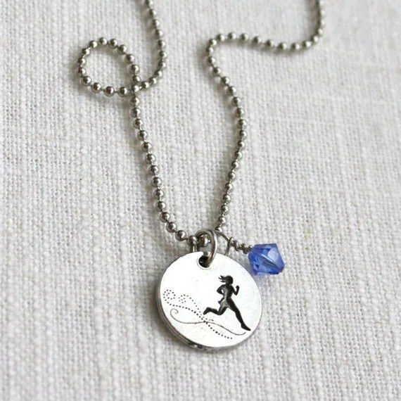 Run Like the Wind, Running Girl Necklace with Bead - ShineOnSportyGirl