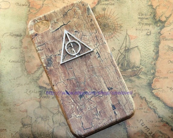Deathly Hallows Harry Potter PU wood color leather case for iPhone 4 Case, iPhone 4s Case, iPhone 4 Hard Case - OneLoveLi