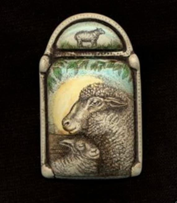 sheep ewe lamb sun scrimshaw technique resin brooch pin