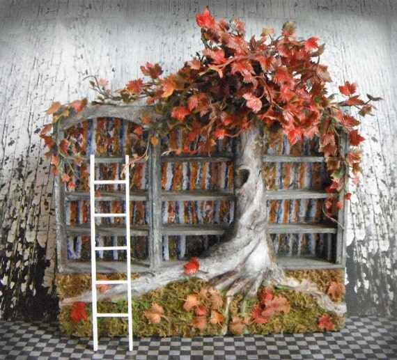 Miniature Fall Blossoms Bookshelf