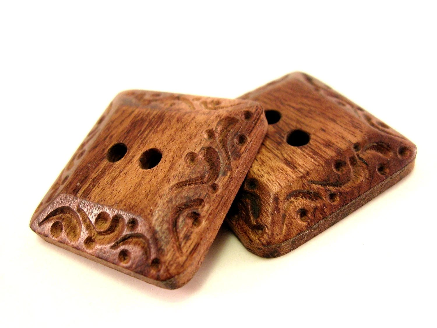 Square brown wood button set of 2 large natural carved button (104) - EcoCraftSupply