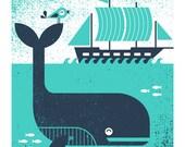 Whale & Bird Screenprint Poster for Kid's Room - BasemintDesign