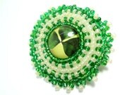 Green Irish Clover Glass Brooch - Beaded Pin - Cyber Monday Etsy - MegansBeadedDesigns