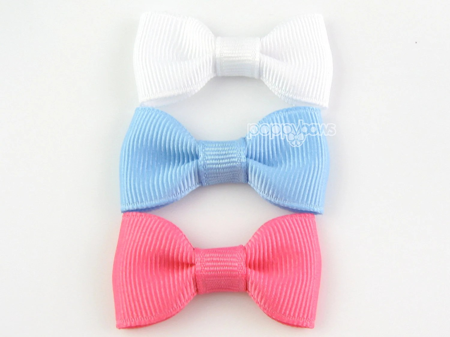 Baby Hair Bows - 3 Pack Mini Snap Clips - Small Hairbows Newborn Toddler Girls - 2 Inch Bows Non Slip Grip White Light Blue Hot Pink - PoppyBows