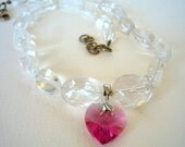 Necklace with Crystal Quartz semiprecious stones and rose Swarovski crystal heart  pendant.
