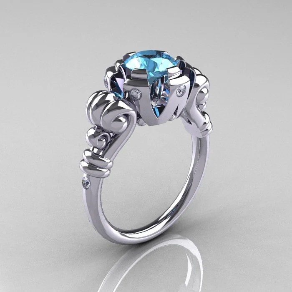 Modern Vintage 10K White Gold 1.0 Carat Aquamarine Diamond Ring RR130-10KWGDAQ