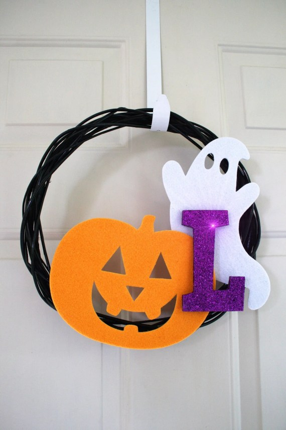 halloween wreath monogram initial customized - hawthornehill