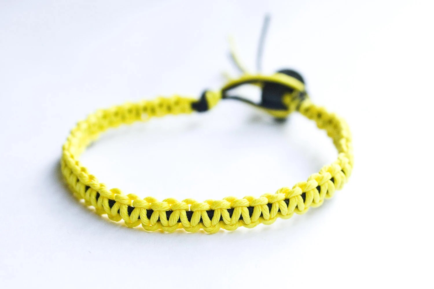 Friendship Bracelet Yellow and Black Hemp - StarlitMoonDesigns