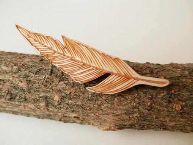 Pretty Things - Wooden Feather Brooch by Kate's Little Store