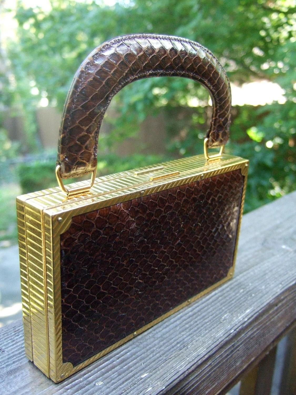 1950s Opulent Art Deco Snakeskin Diminutive Compact / Cigarette Case by Evans