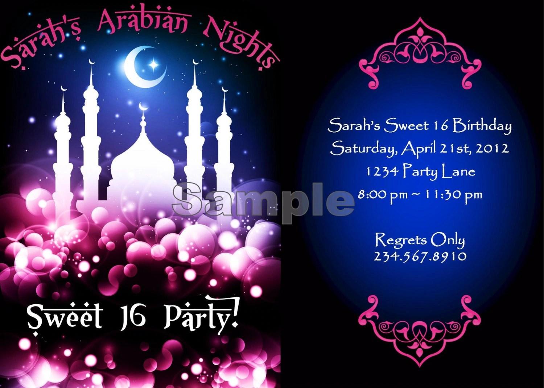 arabian nights, harem nights, 1001 arabian nights, bridal shower, birthday, part, invites