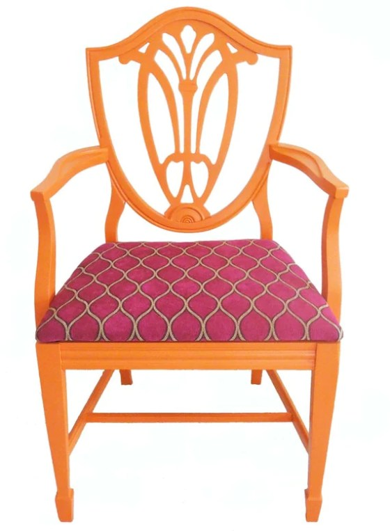 Shield Back Orange Arm Chair- JessicaAllynDesigns