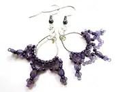 Unusual Purple Chandelier Earrings - MegansBeadedDesigns