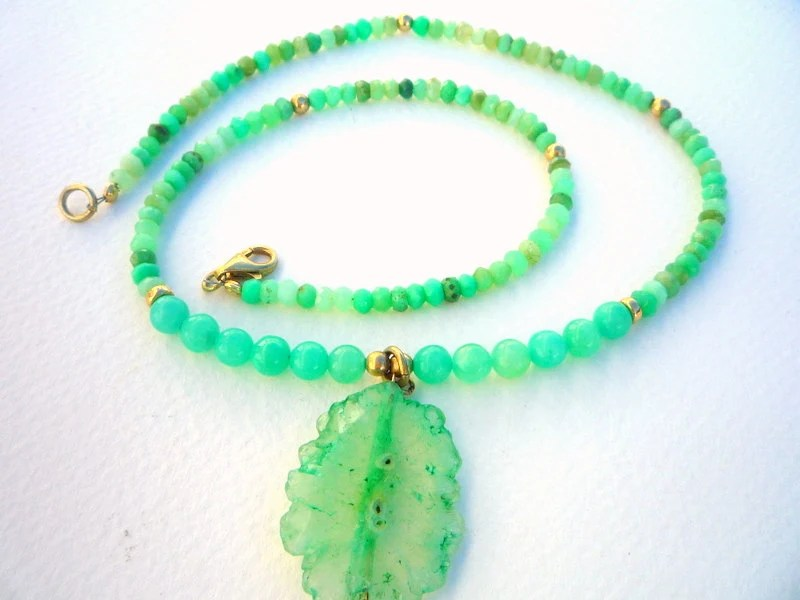 Chrysoprase Faceted Rondelle  with Chrysoprase Green Solar Quartz Coin Stalactite pendant, necklace