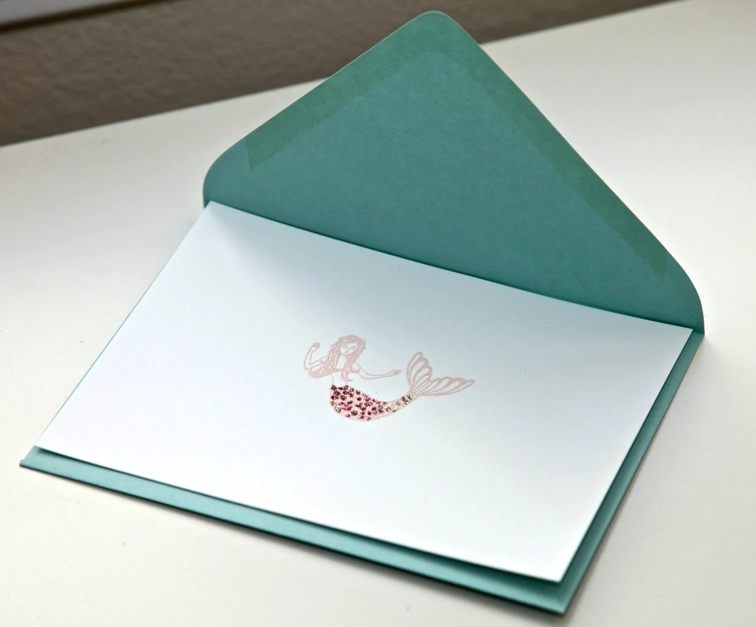 6 Embossed Mermaid Cards with Envelopes -  Stationery Set - PersianLaundry