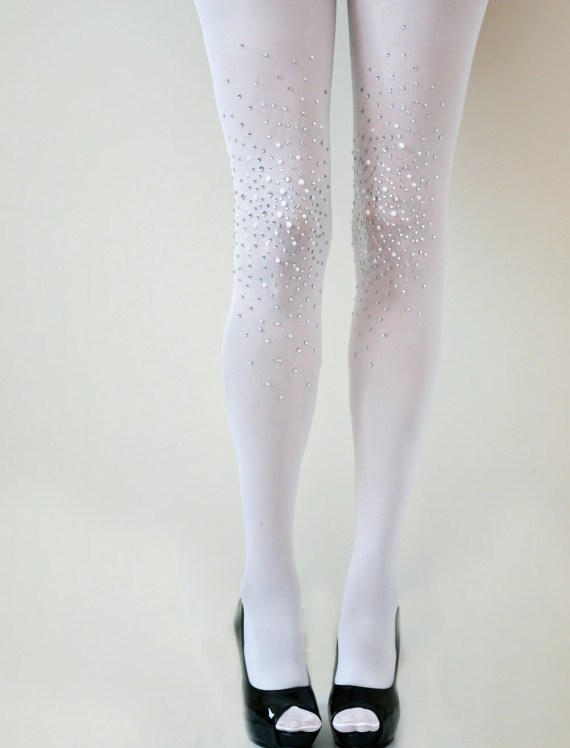 Frost White Bridal Opaque Studded Tights- Bridal Pantyhose- with Rhinestones and pearls - Lalilouche