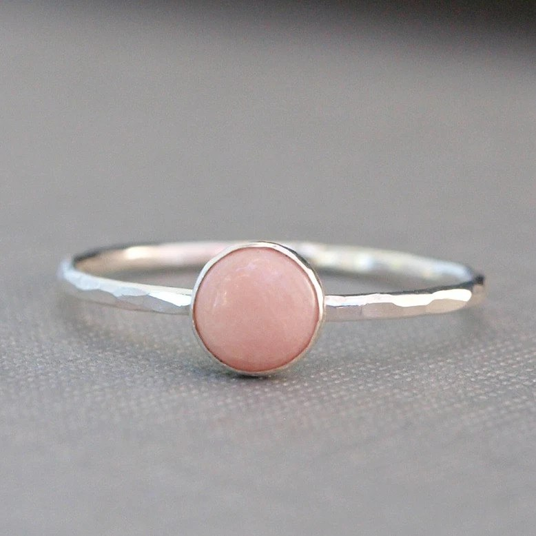 Pink Coral Sterling Ring on Etsy