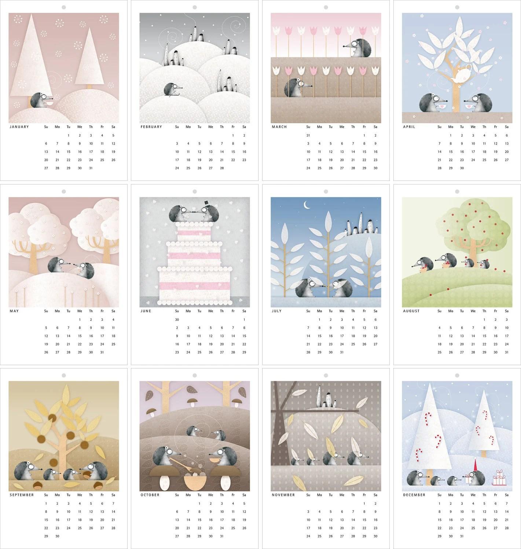 2013 Wall Calendar - The hedgehogs love story