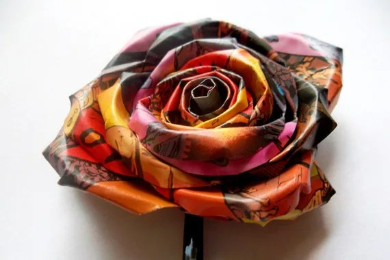 Custom for Shelly - XL Graphic Novel Rose Bobby Pin