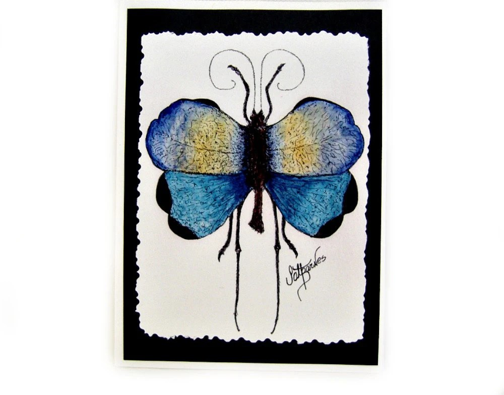 Notecards (Blue Tropical Grasshopper) Signed on Back - PatBarnes