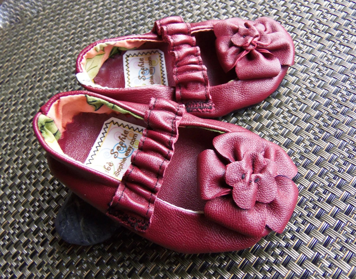 Infant Leather Mary Jane maroon sz 0/6month, 12month,18month - BebeSophie