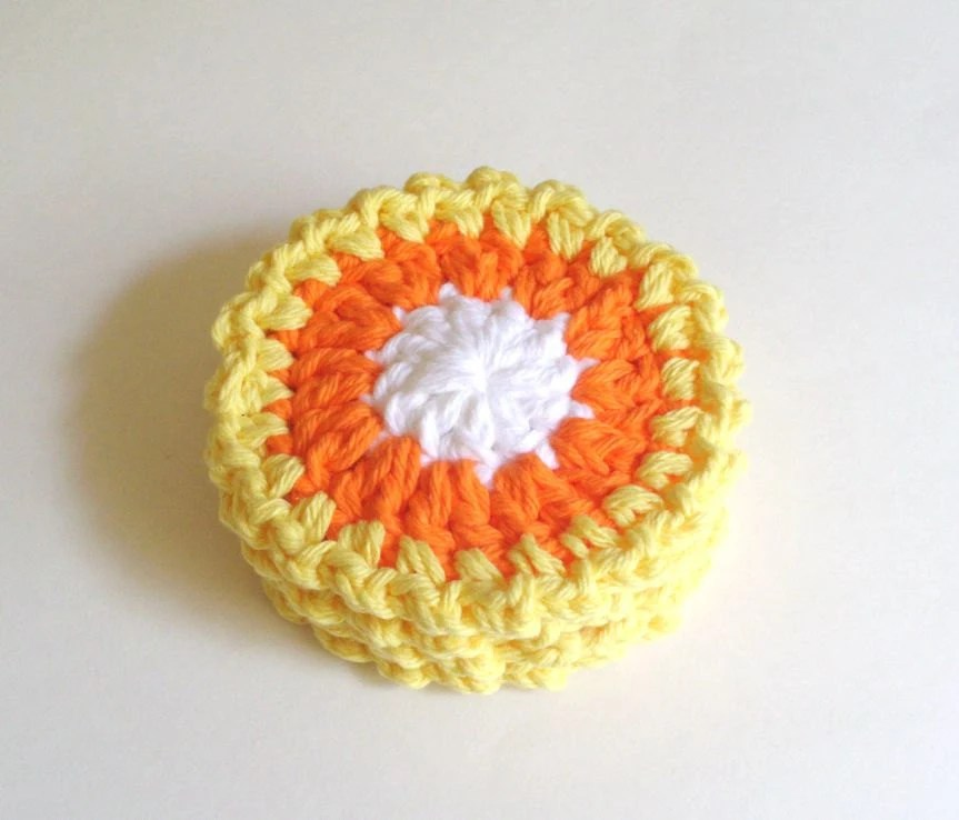 Halloween Crochet Coasters - Candy Corn - Halloween Decorations - Fall Home Decor - pomegranatefarm