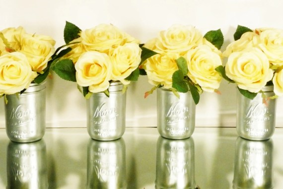 Silver Mason Jar Vases - wide mouth pint - Home or Office Decor - BeachBlues