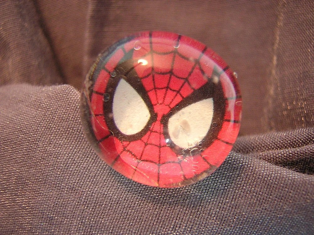 Spiderman Glass Pebble Ring with Adjustable Band - Handmade by Rewondered D225R-00009 - $5.95