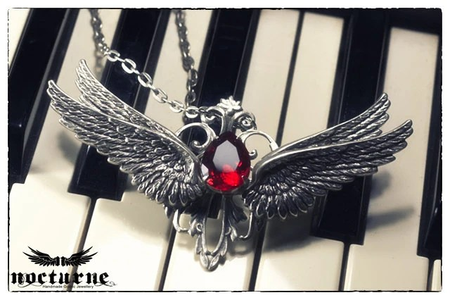 Angel Wing Gothic Necklace - Silver Plated Pendant with Red Gem - Victorian Gothic Jewelry