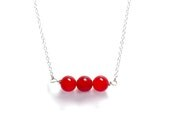 Red Jewelry - Simple Red Jade Necklace - Minimalist Jewelry - Red and Silver Accessory - GalvestonTradingCo