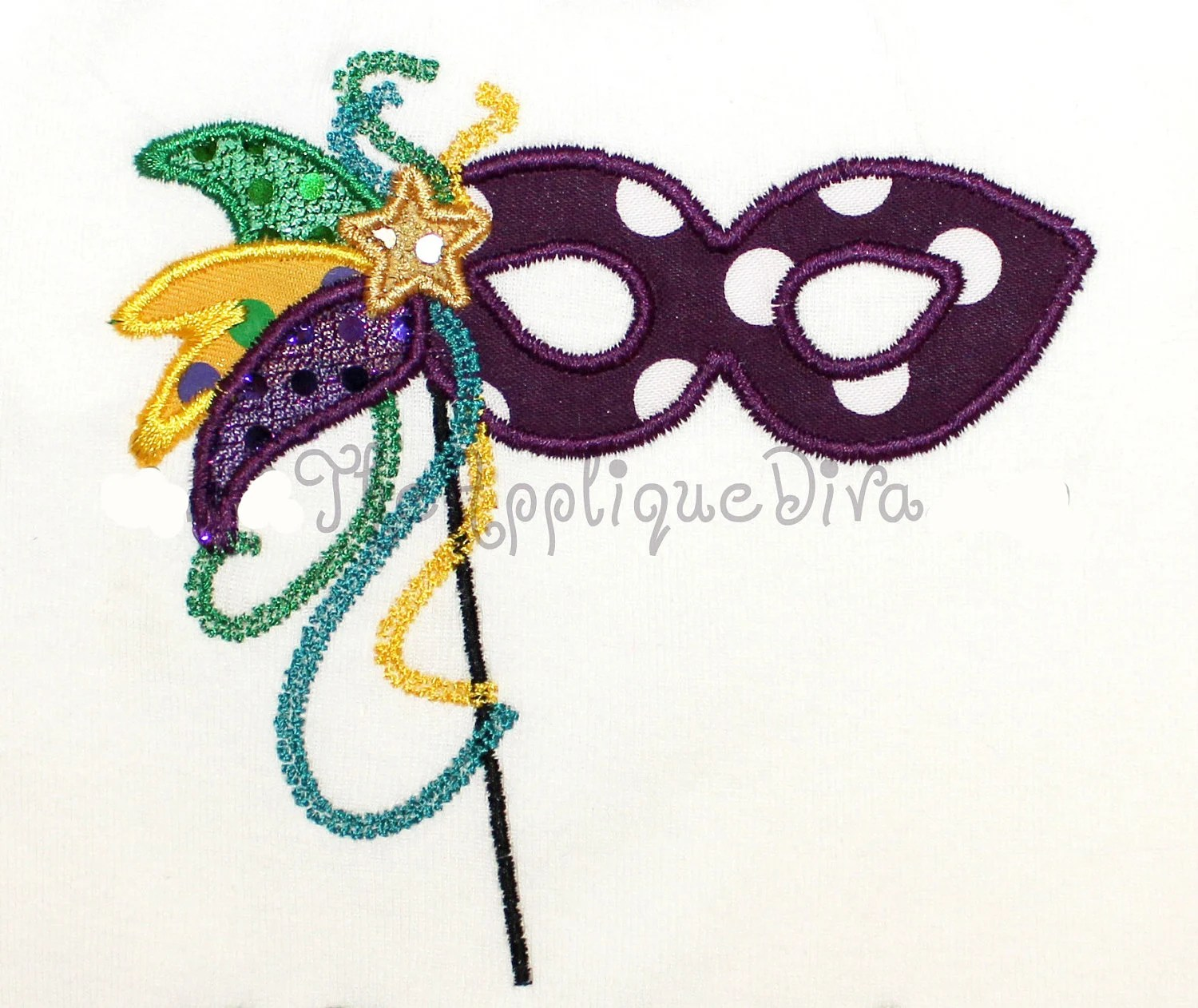 Mardi Gras Mask Embroidery Design Machine Applique - theappliquediva