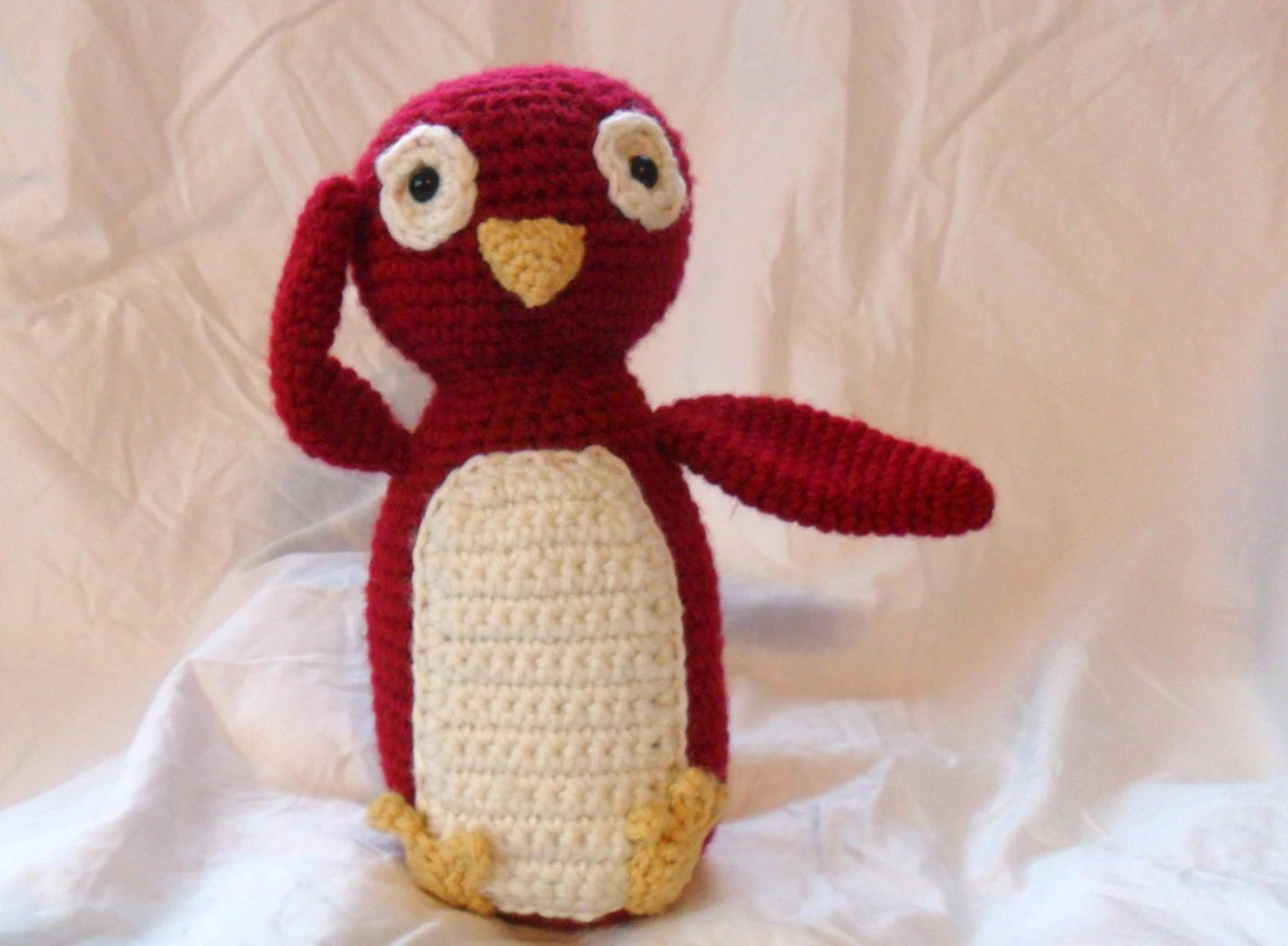Red Stuffed Penguin, Stuffed Zoo Animal, Plush Penguin, Kids Toy, Plush Doll, Crocheted Animal,  Stuffed Animal - Patrick the Penguin