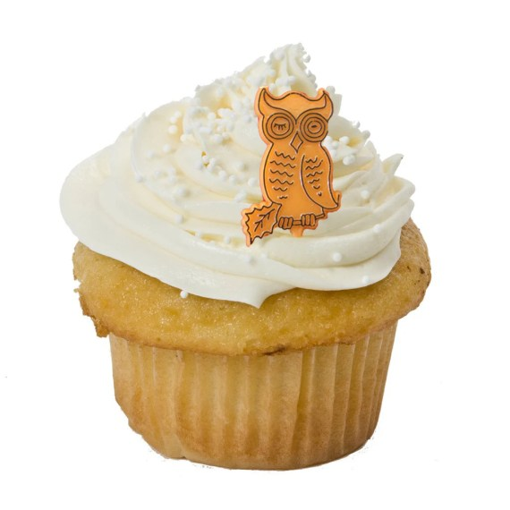 Vintage Halloween Cupcake Toppers, ORange and WHite, a Set of Twelve Toppers For Your SPOOKY Halloween Cupcakes - 30one