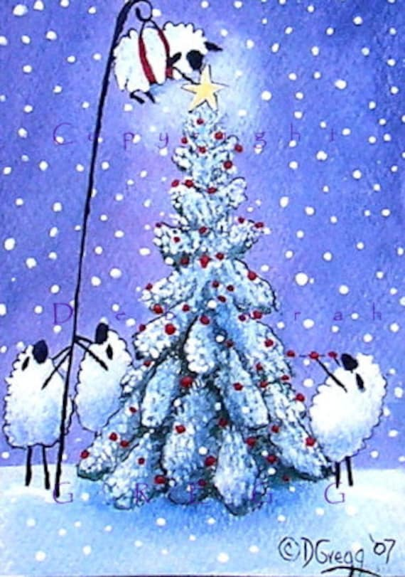 And Now For The Christmas Star   A Tiny  Sheep Christmas Tree aceo PRINT   by Deborah Gregg